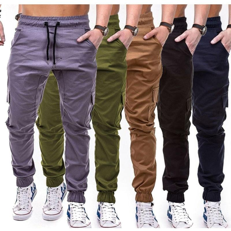 Mens Autumn Winter Fashion Casual Overalls Slack Small Feet Trousers Loose Pants