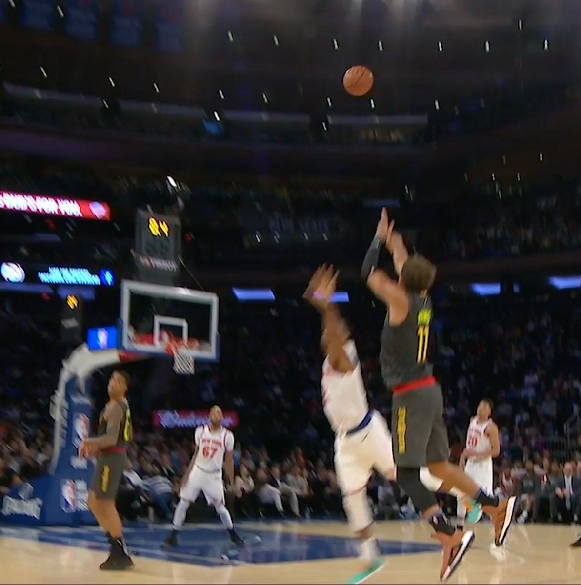 Trae from deep to end the third 😳  He's putting on a show at MSG!