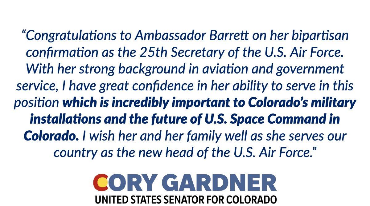 Congratulations to Ambassador Barbara Barrett on her bipartisan confirmation as @SecAFOfficial. Read my full statement ⬇️