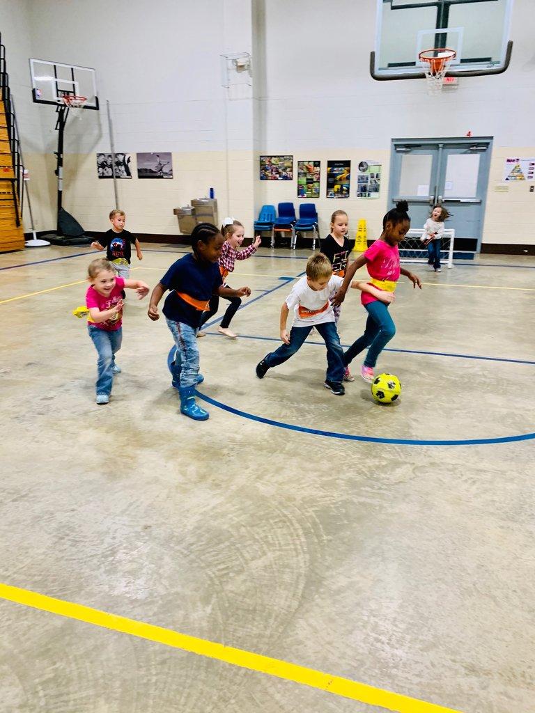 Kindergarten students love PE class at JBE! #WhateverItTakes @EnergyBusSchool