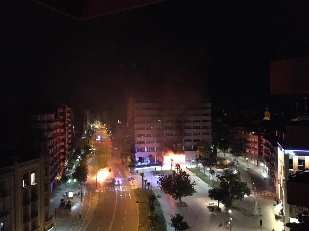 """""""Endavant"""", grupo perteneciente a la CUP, celebra un incendio provocado en el edificio de Hacienda en Lérida"""