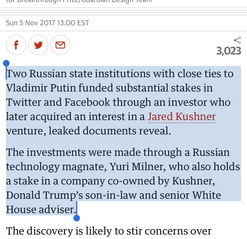 "The Facebook and Twitter ""investments were made through a Russian technology magnate, Yuri Milner, who also holds a stake in a company co-owned by Kushner, Donald Trump's son-in-law and senior White House adviser."" https://t.co/Hmvru9xktx https://t.co/vHa9DptCWH"