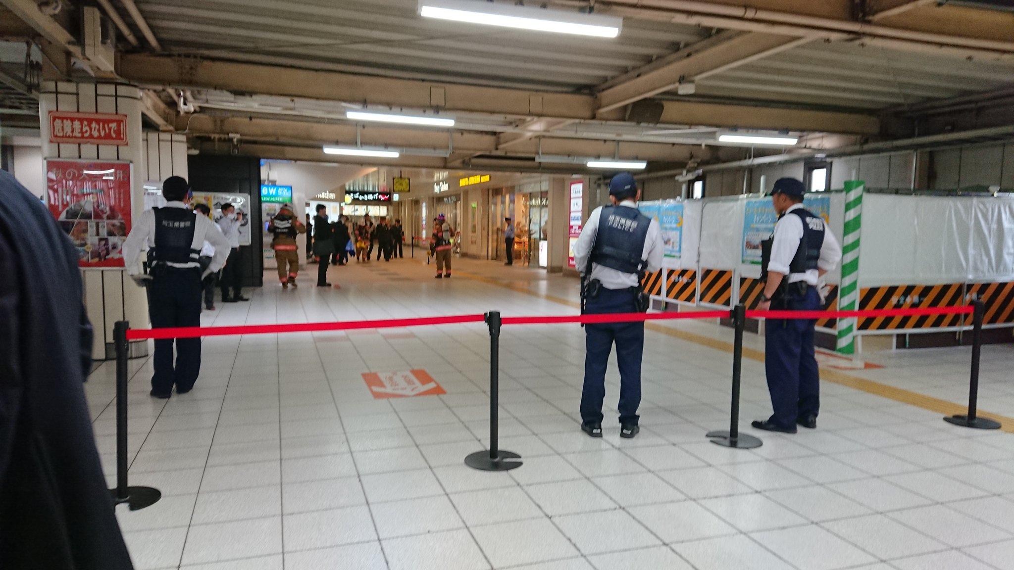 武蔵浦和駅の不審物騒ぎの現場の画像