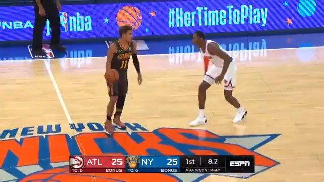 Trae Young closing Q1 in style. 🔥🔥🔥  #NBAPreseason #NBAFantasy #NBADraft #DFS #NBATwitter