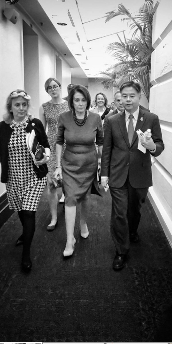 Walking with Nerves of Steel Nancy Pelosi. We were discussing legislation to reduce health care costs, the failed Syria policy of @realDonaldTrump, and other things .... Thank you to @frankthorp for taking this picture.