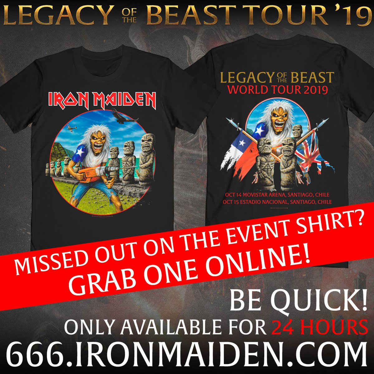 Last call for the last shirt of the year! 12 hours remaining to grab yours... maiden.store/chile
