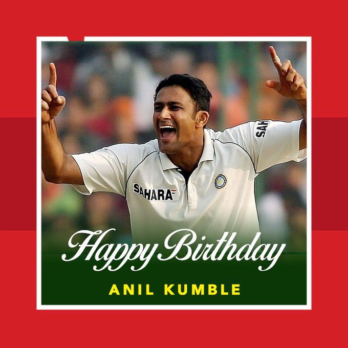Happy birthday Anil Kumble aka \Jumbo\.  619 test wickets 337 ODI wickets