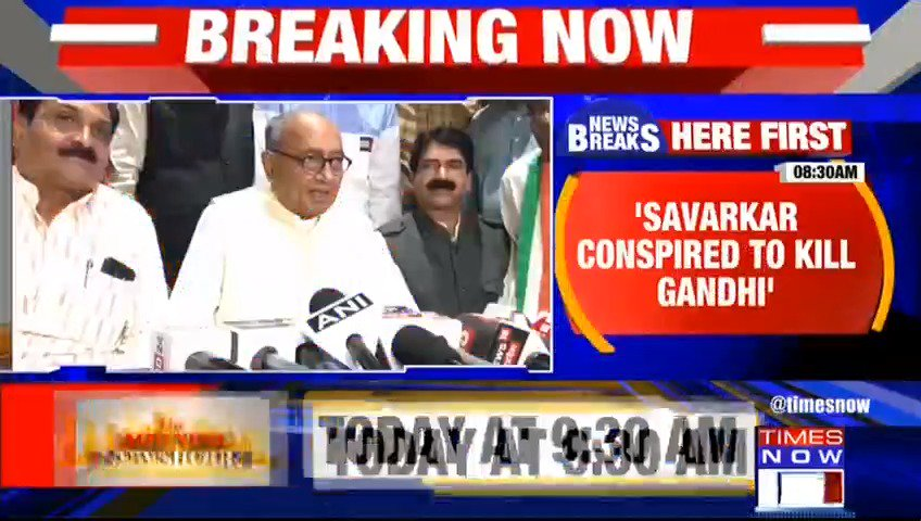 #Breaking | BJP vs Congress face-off over Savarkar. BJP vows Bharat Ratna for Savarkar, but Congress slams BJP over its poll promise. 'Savarkar conspired to kill Gandhi', says Congress leader @digvijaya_28. TIMES NOW's Govind with more details. Listen in.