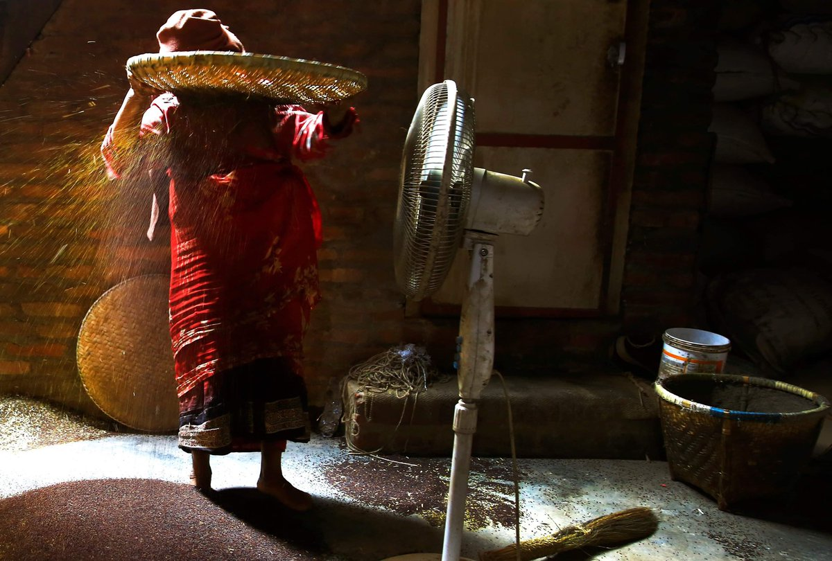 A woman winnowing mustard seeds at an oil mill on the outskirts of Kathmandu, Nepal on Wednesday, October 16, 2019.