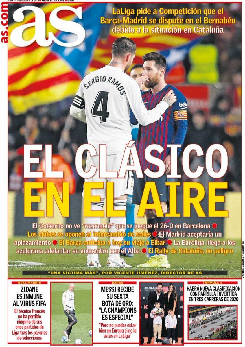 #Villahermosa #PeñamadridistaVillahermosa #RealMadrid #HalaMadrid #madridistas #rmadrid #laportada #17octubre #jueves #AS #elClásico #enelaire #aplazamiento #Euroliga #RallydeCataluña #aplazamiento #Zidane #inmune #virusFIFA #Messi #BotadeOro #F1 #clasificación #parrillainvertida https://t.co/uUBXWvCInM