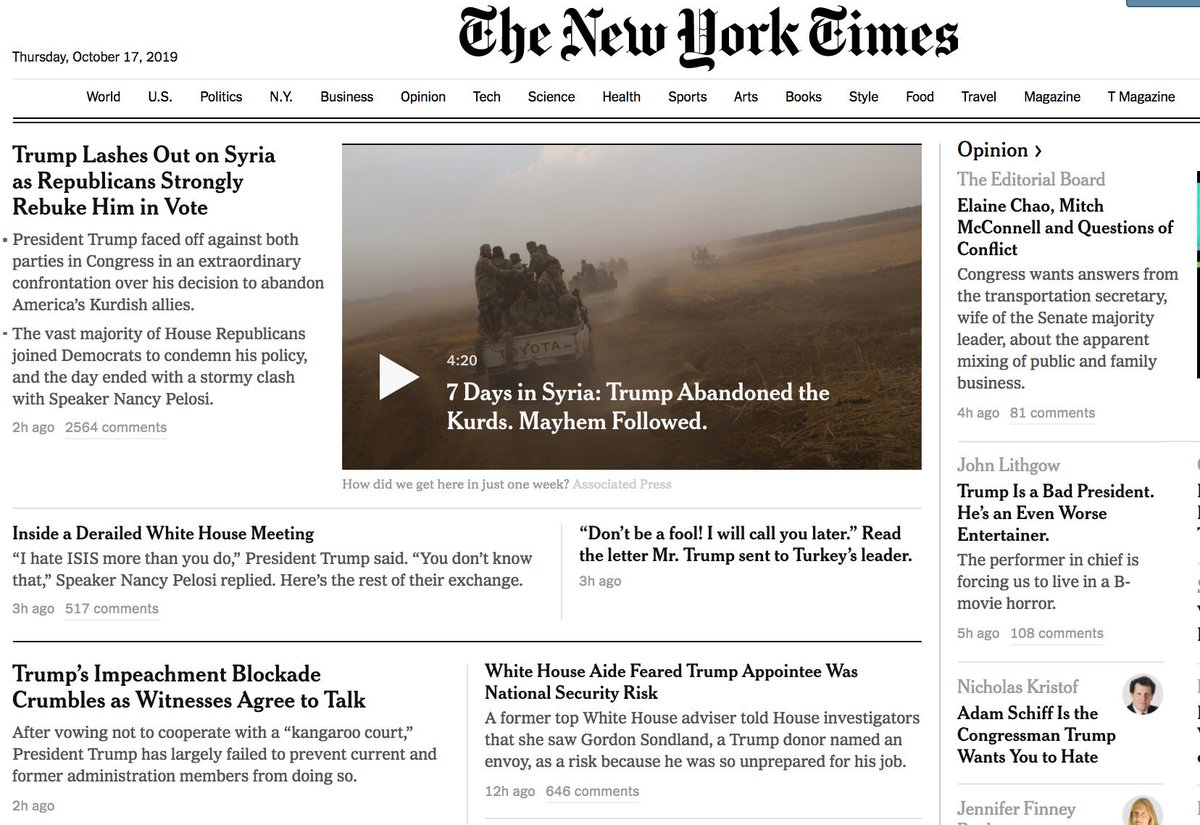 The front page of the NYT website —on day 1,000 of the Trump administration — reads like a parody prediction from 2016 of what Trump's presidency would look like.
