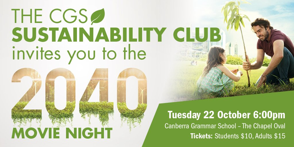 The CGS Sustainability Club's 2040 Movie Night has been postponed until Tuesday 22 October due to bad weather. More information and tickets: https://t.co/WAeNMkhSbO