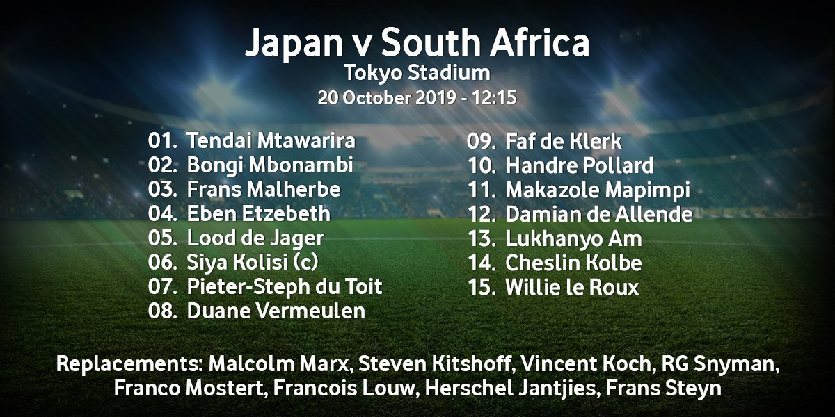 Heres the South Africa team to face Japan in the #RWC2019 quarter-finals. Coach Rassie reverted to the starting XV and replacements that recorded a 49-3 victory over Italy two weeks ago and they did a stellar job. #JPNvRSA