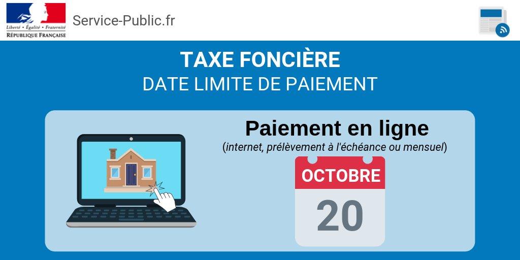 ️ [#Impôts]Propriétaires, plus que quelques jours pour payer votre taxe foncière en ligne !Pour rappel, vous avez jusqu'au 20 octobre. Les prélèvements seront effectués à partir du 25 octobrePlus d'infos bit.ly/2lJuQBy https://t.co/F8ZEpvR1e4