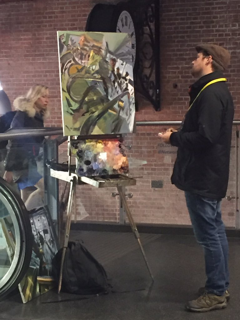 Different commute today... #artist at work at Manchester Piccadilly #differentperspective https://t.co/uRGIJtyLvl