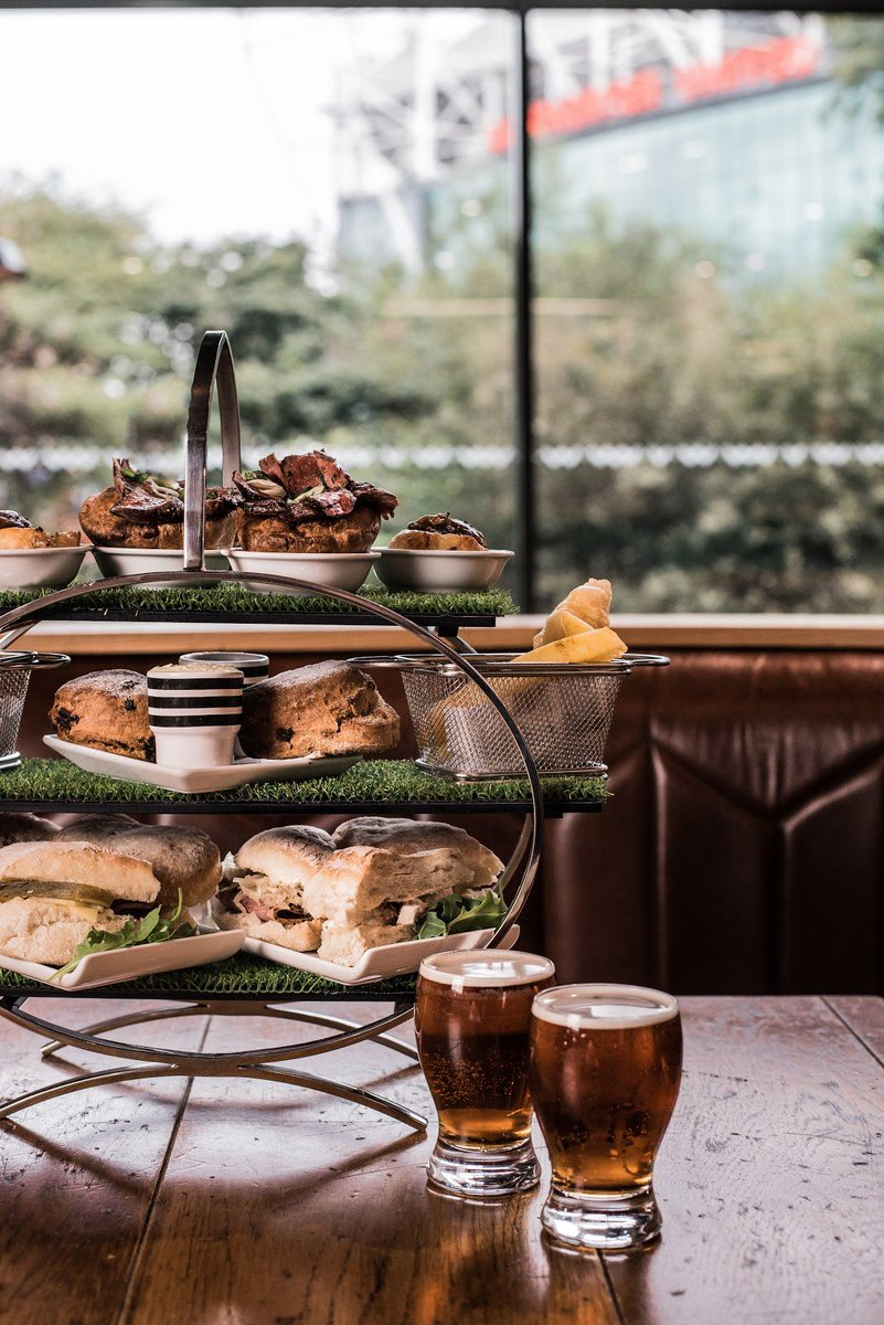 Introducing a @cafefootballuk's Game of Two Halves take on afternoon tea! We have two afternoon tea options... The Home Game and The Away Game. The less traditional Home Game includes mini fish & chips, mini Yorkshire pudding with beef and gravy, sausage roll swirls and more.