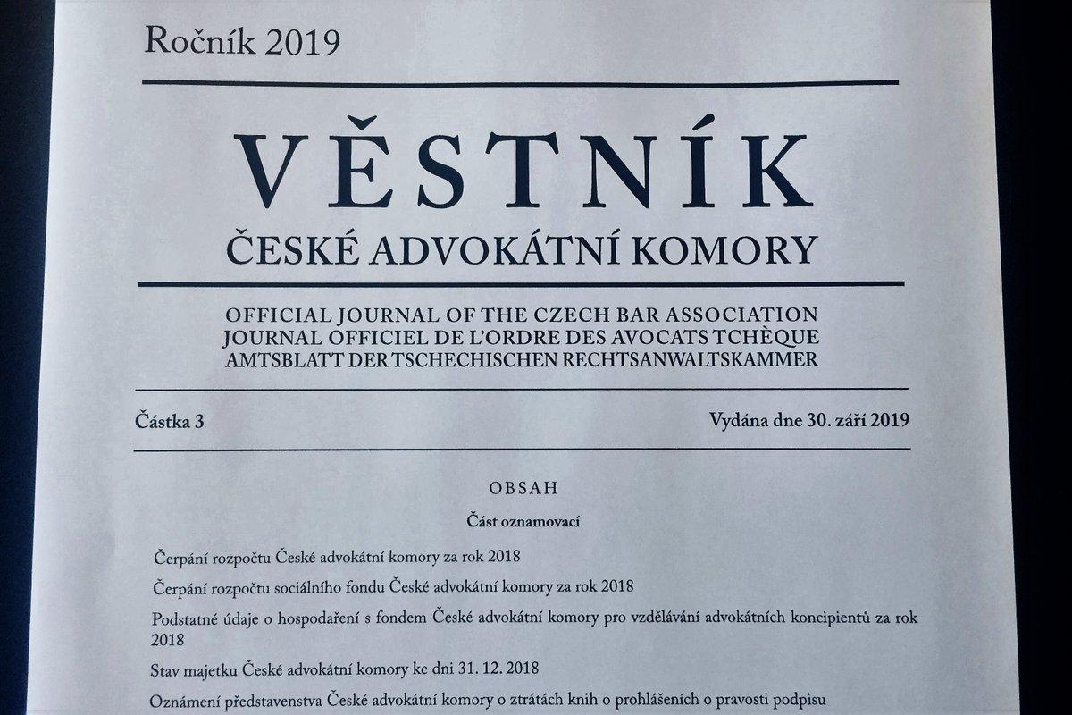 test Twitter Media - Vyšla letošní 3. částka Věstníku ČAK. https://t.co/1KHStWiQ7n. Jen připomínáme, co už určitě všichni advokáti i advokátní koncipienti dávno vědí, že forma jeho vydávání se změnila a nyní je dostupný pouze elektronicky na webových stránkách @CAK_cz https://t.co/F8M8eFpVkO