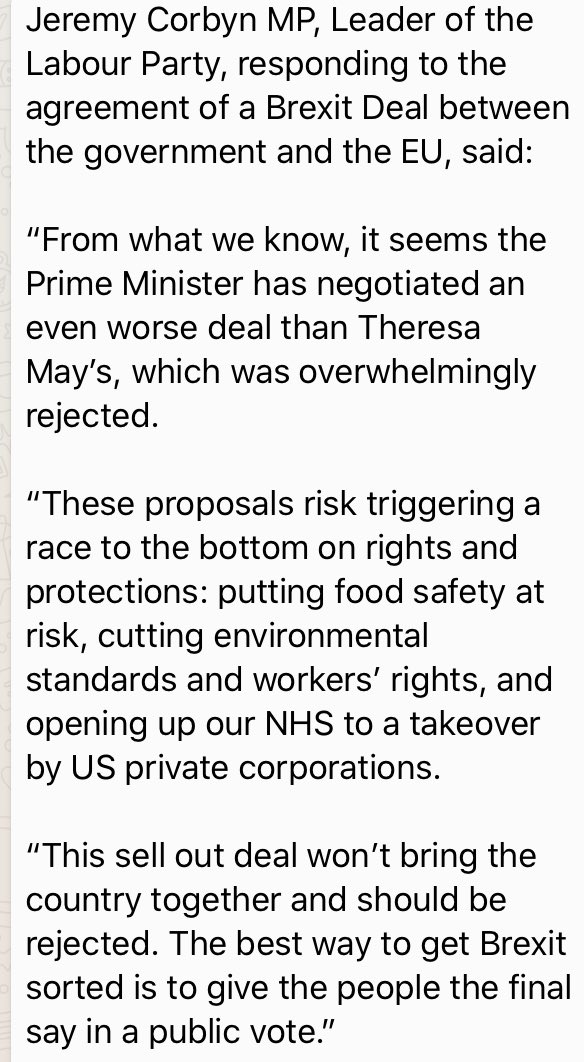 And ⁦@jeremycorbyn⁩ responds to the deal - though like the rest of us he does not have the legal text