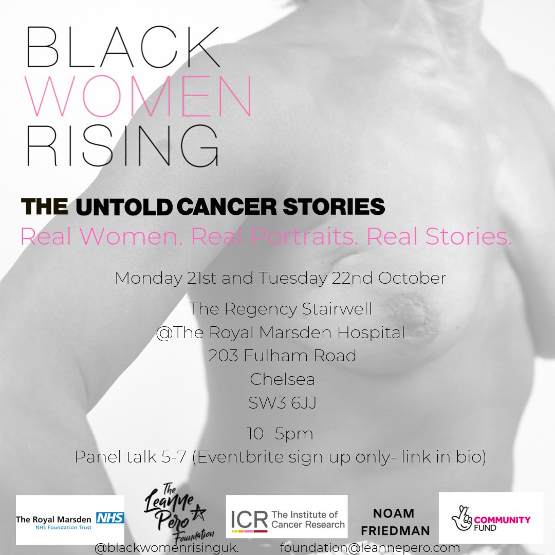 Super excited about taking my #blackwomenrising exhibition to two hospitals next week- up next is @royalmarsden again no need to book to see the portraits but for the panel talk you can grab a ticket here https://www.eventbrite.co.uk/e/black-women-rising-exhibition-panel-discussion-tickets-74800555475… featuring some of my favourite ladies x