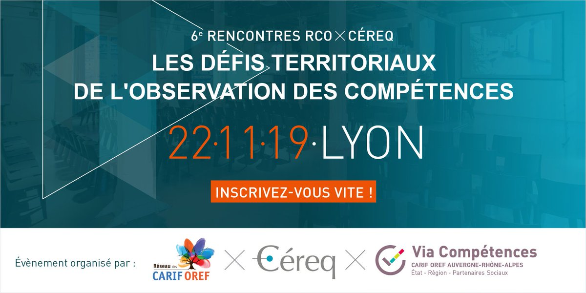 "🗓6e Rencontres RCO x Céreq du 22/11 à #Lyon :  : ""Les défis territoriaux de l'observation des #compétences"", pensez à vous inscrire à un des 3 ateliers de l'après-midi.Programme et inscription 👉 https://t.co/dIUSPXHFIo https://t.co/nCGEGHebpZ"