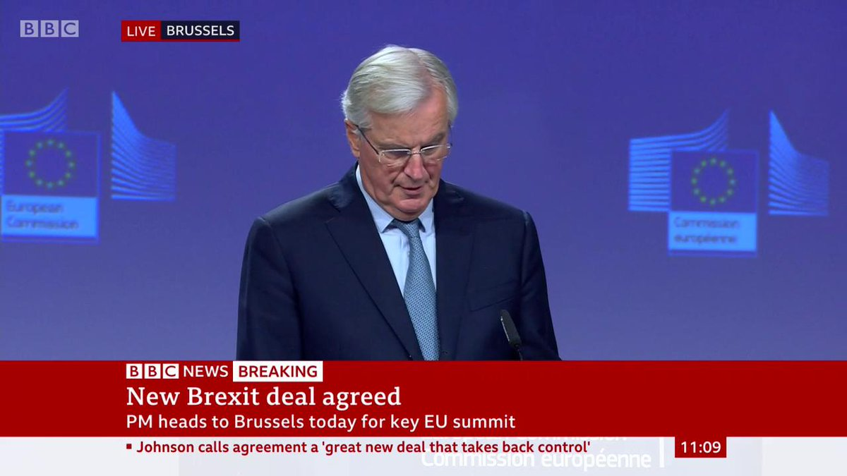 """""""The EU and the UK were fully committed to protect peace and stability on the island of Ireland"""" - EU chief negotiator Michel Barnier says Brexit discussions """"have been difficult, but we have delivered""""http://bbc.in/2qmhRIn"""