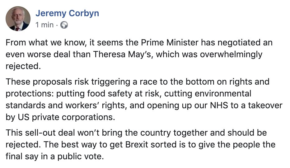 From what we know, Johnsons negotiated a worse deal than Theresa May. This sell-out deal risks our rights, protections and NHS. It won't bring the country together and should be rejected.