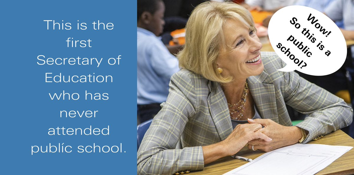 Our Secretary of Education lacks the very principles to translate common sense curriculum to our nation's schools. How can millionaires dictate policy for public education when they have never had to dabble in the educational politics of funding for public schools?