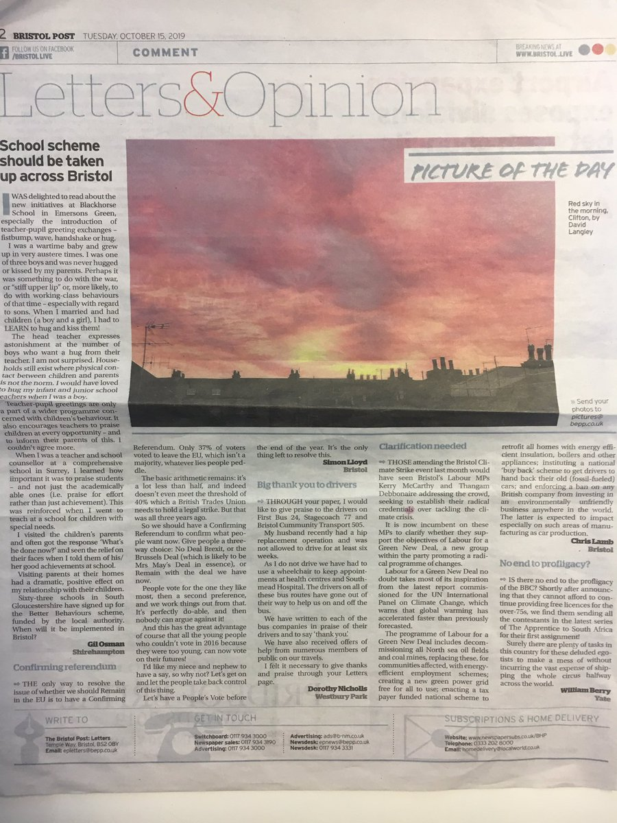 test Twitter Media - Fantastic to see David Langley's photo being chosen for 'Picture of the Day' in the Bristol Post- A beautiful red sky in the morning 😍   #NRGLaw #ThinkNRGLaw #LawWithARedDoor #Sunrise #Bristol #Clifton #PhotoOfTheDay  @BristolLive https://t.co/CWrlHnEcha