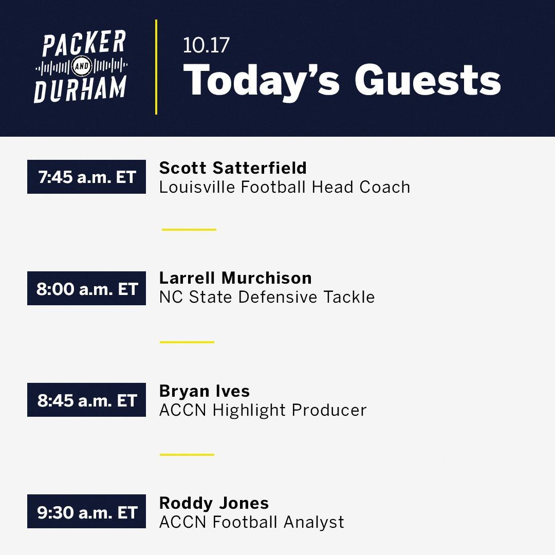 #PackerAndDurham is 🔙 on at 7️⃣ AM ET! ▪️ @CoachSattUofL ▪️ @Murchboy92 ▪️ @awaytoworthy ▪️ @RoddyJones20