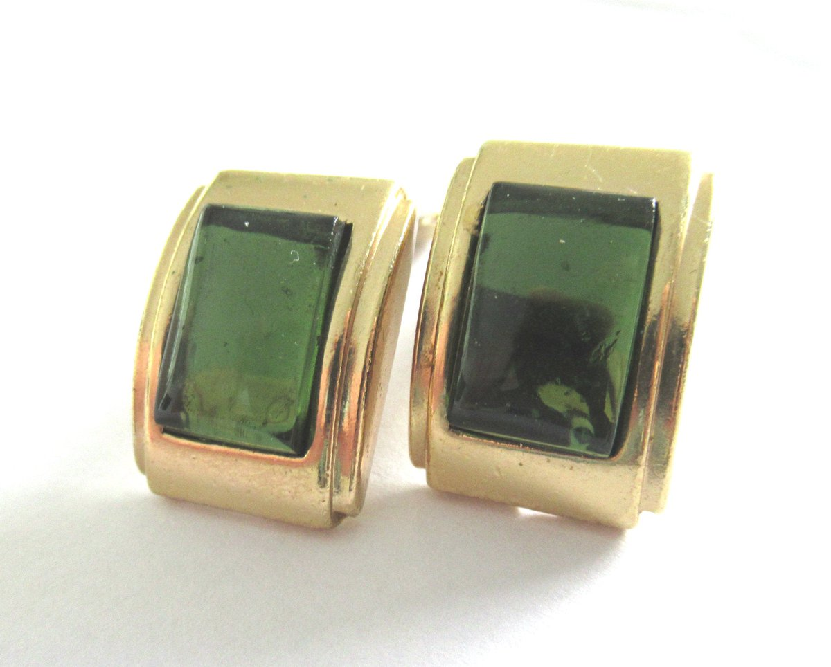#StPatricksDay Gifts #AGATHAPARIS – Signed Rectangle Earrings with Green cut Cabochon, Vintage 1980 French Costume Jewelry           #jewelry #earrings  #vintage #clipon #FrenchVinatge #jewelry