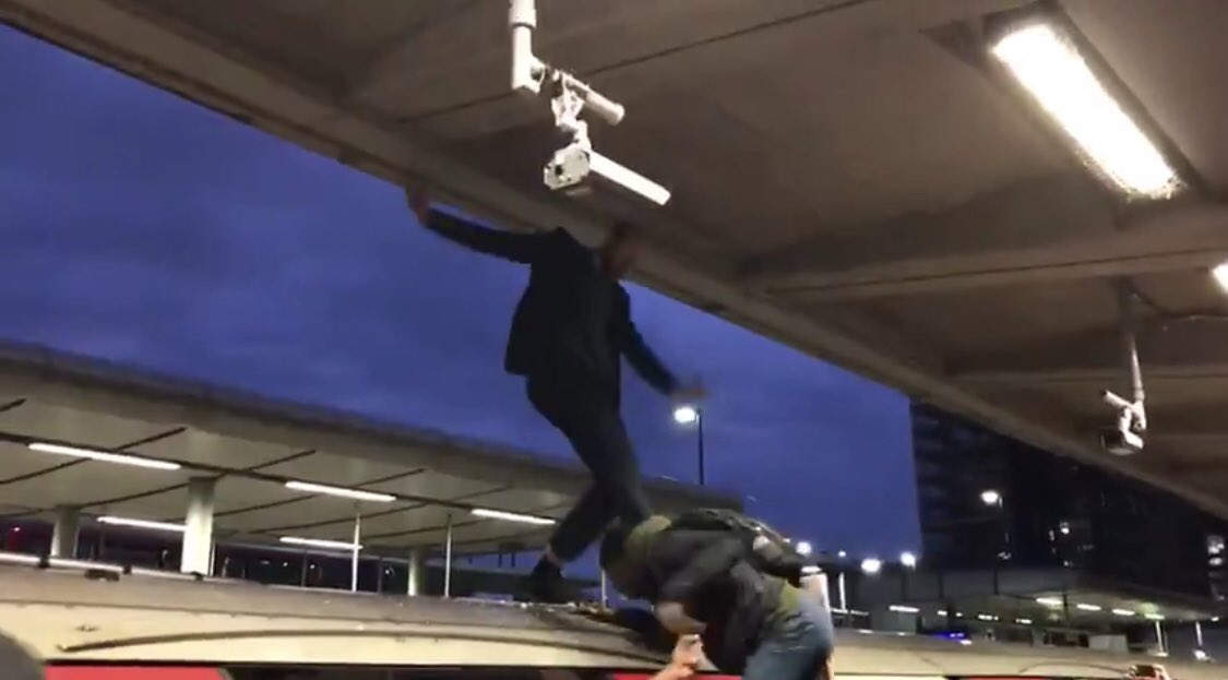 """The """"peaceful"""" #ExtinctionRebellion protesters on the Tube today are only peaceful UNTIL they're challenged. The first act of violence at Canning Town came from the XR man who kicked a commuter in the head simply for trying to get him off the train so he could go to work. <br>http://pic.twitter.com/Vwg10fWtXH"""