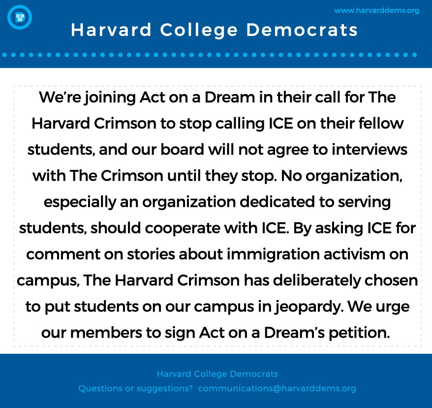 Student Petition Asks Harvard Paper To Apologize After Asking ICE For Comment
