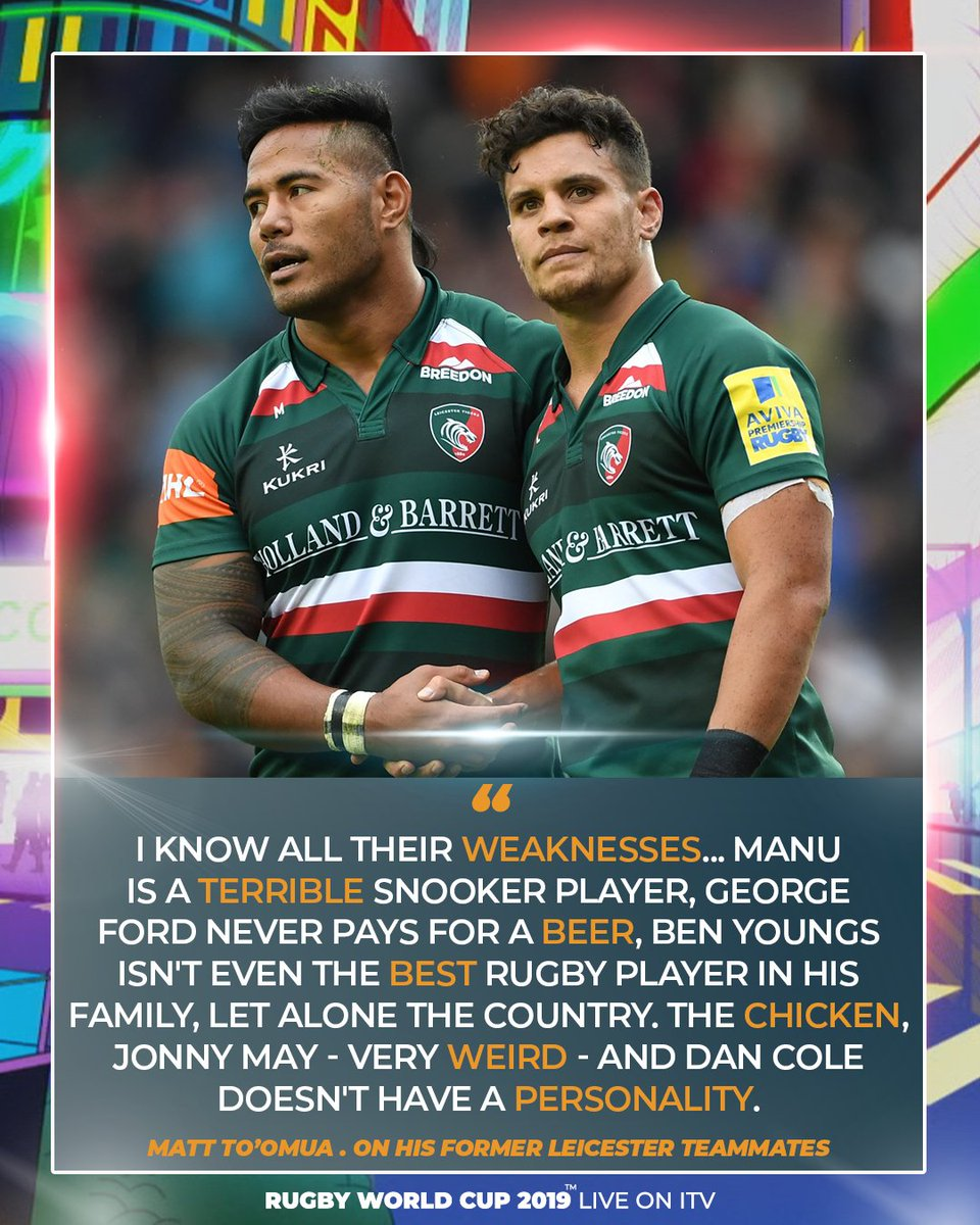 👀 @mtoomua has publicly revealed the weaknesses of his former @LeicesterTigers teammates 😂 Watch @EnglandRugby 🆚 @wallabies LIVE on @ITV, Saturday, October 19 from 7.30am 📺 #CarryThemHome🌹#RWC2019 #ENGvAUS #ITVRugby