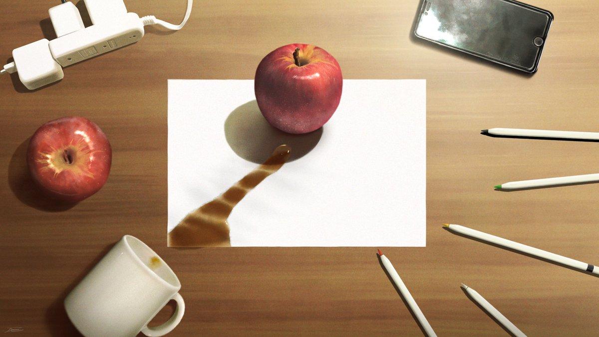 「描いたリンゴの絵にコーヒーこぼしちゃった、、」という絵。※全部描きました