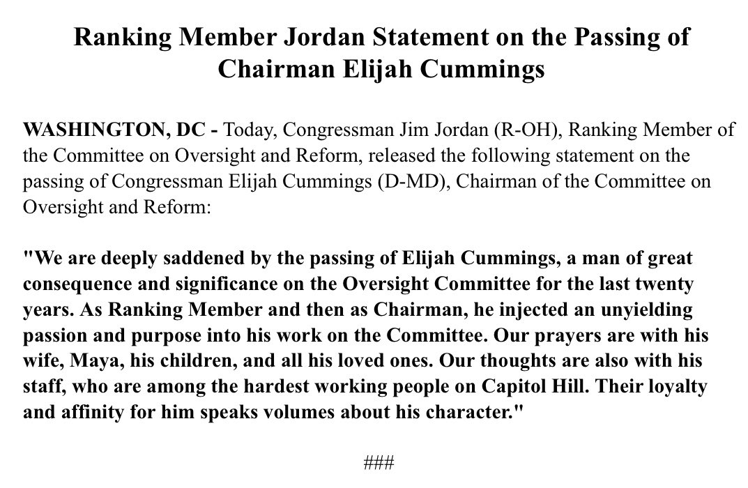Ranking Member @Jim_Jordan's  Statement on the Passing of Chairman Elijah Cummings.