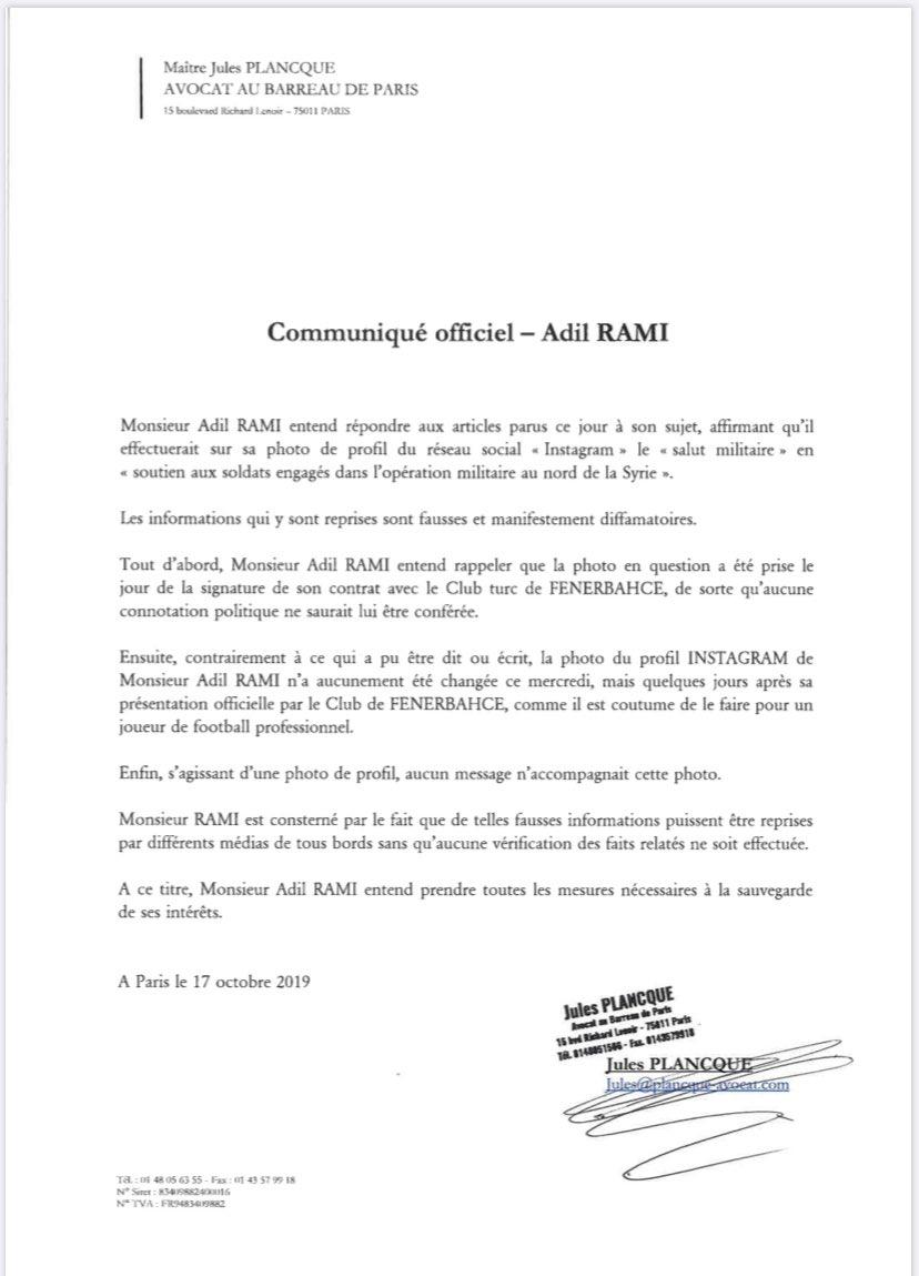 Communication Avocat Adil Rami