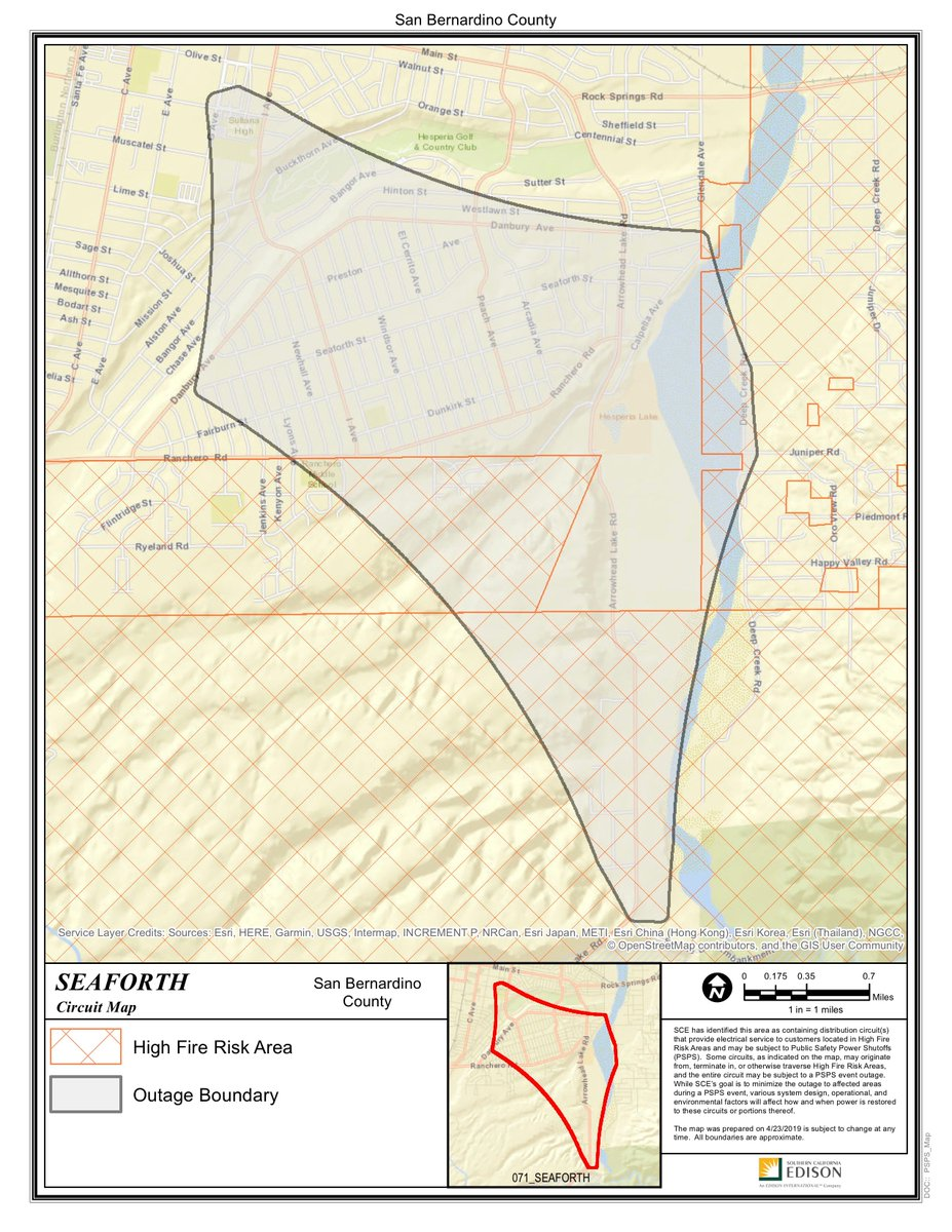 Portions of @CityofHesperia are under Public Safety Power Shutoff (PSPS) consideration today by @SCE. Check the map to see if your area is affected. For continuing updates, go to https://www.sce.com/safety/wildfire/psps…#PSPS #powershutoff