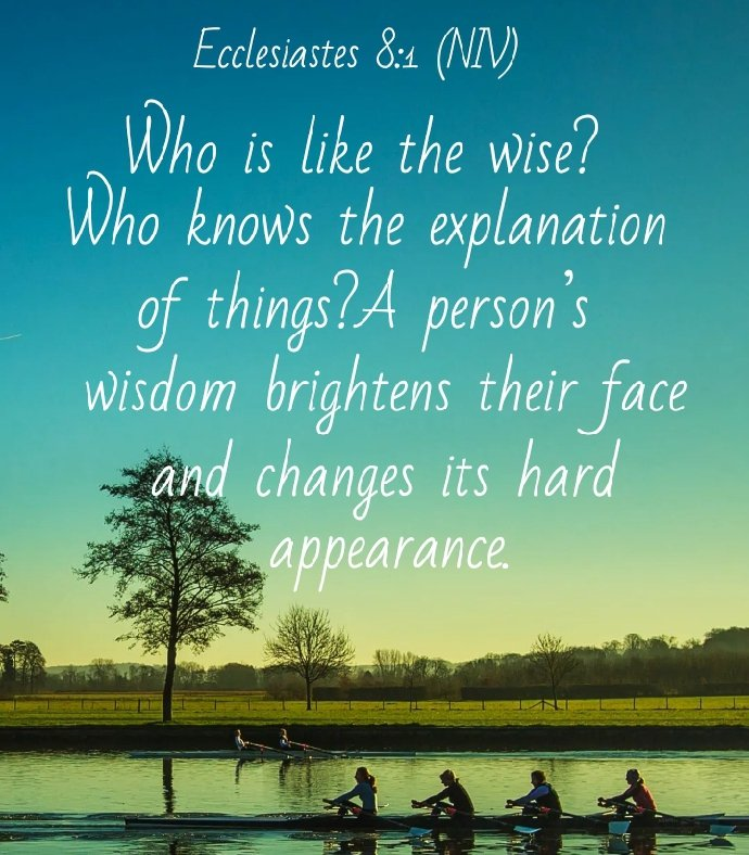 "Joycyjoy on Twitter: ""📖Ecclesiastes 8:1 (NIV) Who is like the wise? Who  knows the explanation of things? A person's wisdom brightens their face and  changes its hard appearance.… https://t.co/cCtQfr1bVa"""