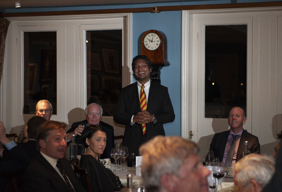 """🗣 """"I am humbled to take over as President of MCC and I will strive to safeguard and add to the prestige of the Club.""""As part of his Presidential duties, @KumarSanga2 met with MCC Members last night to discuss his ambitions for the future of the Club.#MCCcricket"""