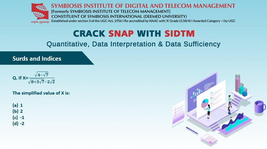 It's time to CRACK SNAP with SIDTM! An initiative by @Symbiosis_SIDTM Pune for aspirants to understand quantitative ability in SNAP. Comment your answers. Subscribe for study material:  https://www. sitm.ac.in/MBA-DTM/     #SIDTM #Symbiosis #SNAP #MBA #MBAadmissions #bestoftheday #motivation<br>http://pic.twitter.com/rsVkEQDTyV