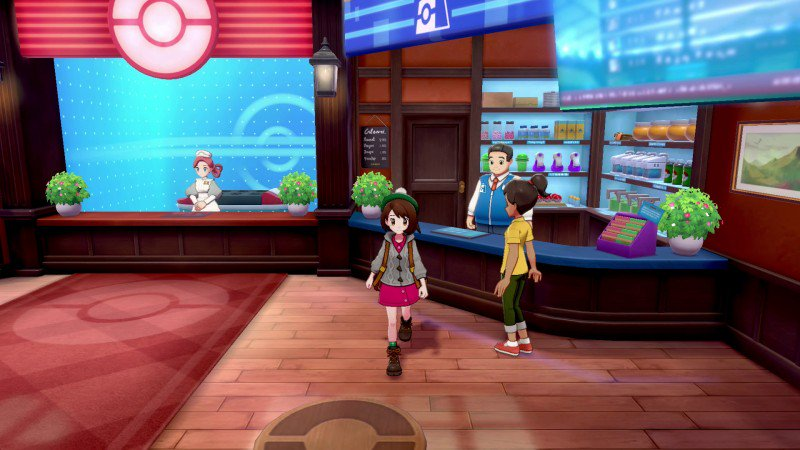 """Game Informer's preview of Pokémon Sword and Shield: https://www.gameinformer.com/preview/2019/10/16/playing-through-the-beginning-of-the-game…* First town called Wedgehurst* Nearby forest is called Slumbering Weald* Yamper encountered in starting area* """"Steam city"""" = MotostokeAlso, here's the right side of the Pokémon Center:"""