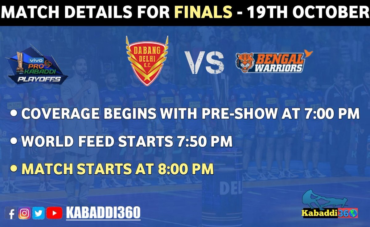 Here's how the live coverage 📺 is scheduled for #VIVOProKabaddiFinal of Season 7 on 19th October!  #DELvKOL #Issetoughkuchnahi  #PKLwithkabaddi360  #VIVOProKabaddi
