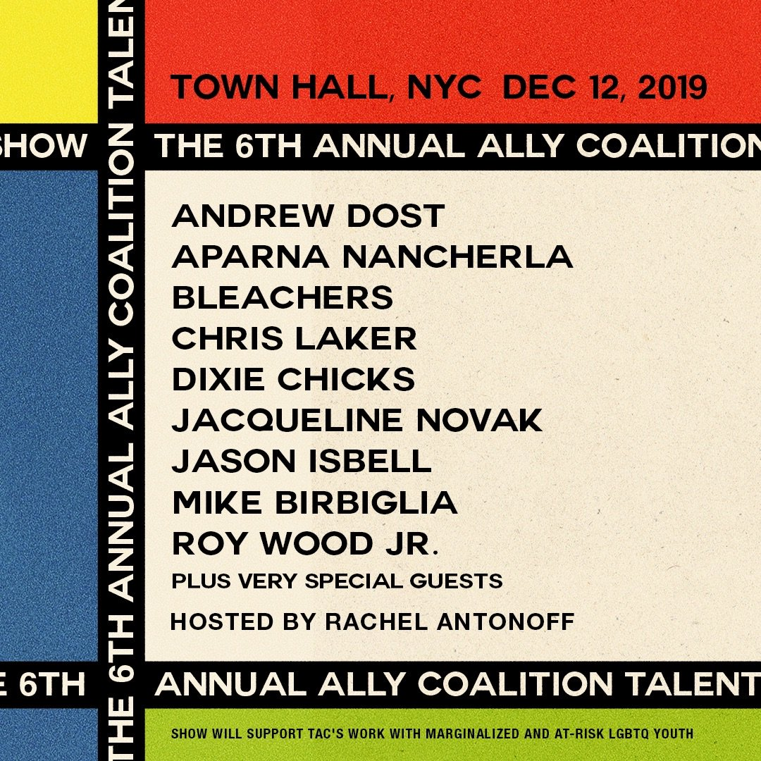 it's here! the 6th annual @allycoalition talent show lineup - plus very special guests .... tickets below. all proceeds to lgbt youth shelters. + rachel on the edibles / queen novak / fucking dcx. jesus....... can't wait. my favorite night of the year www1.ticketmaster.com/event/03005742…