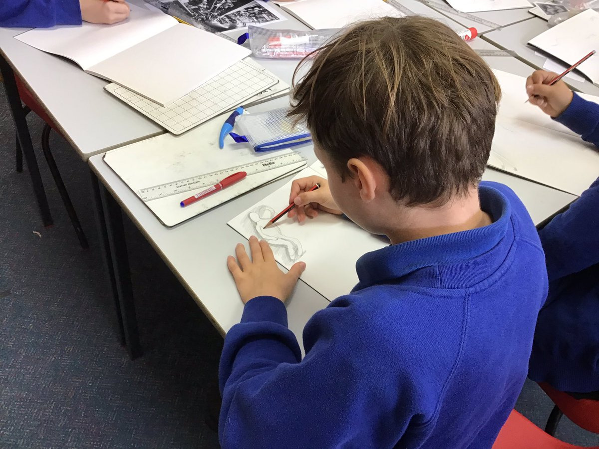 Practising our drawing techniques - particularly shading. We have taken inspiration from Henry Moore, who drew sketch's from experiences in air-raid shelters during WW2. #WW2art #sketching
