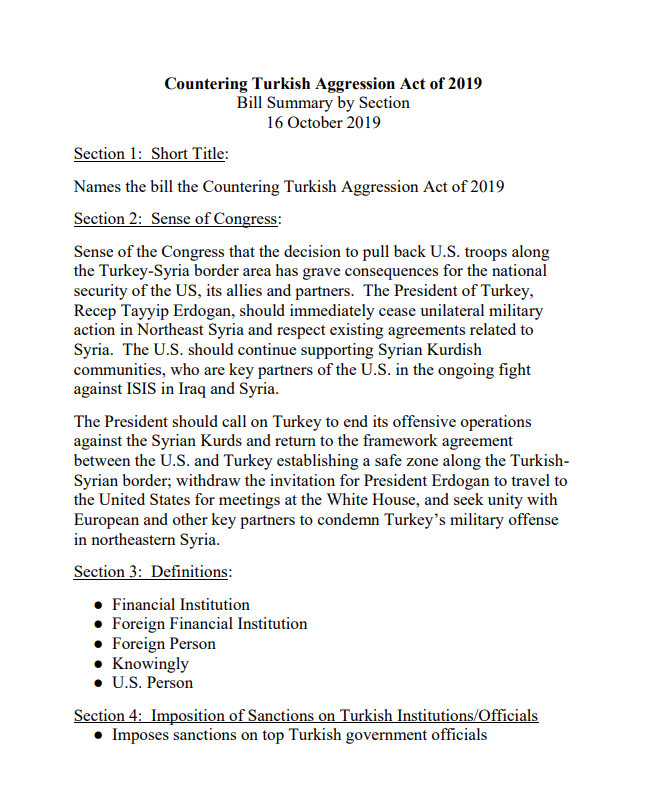 The Countering Turkish Aggression Act of 2019 Section by Section Bill Summary Press conference at 12:30 pm in Senate Radio-TV Gallery.