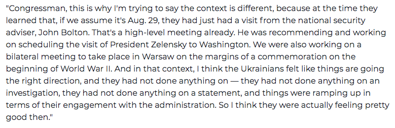 Schiff pressed Volker to say Ukraine felt pressured by Trump withholding aid. But Volker kept saying that was wrong. The Ukrainians didnt know aid was withheld, and things seemed to be going their way. Schiff would not accept that view.  http://ow.ly/txUq50wNJIV