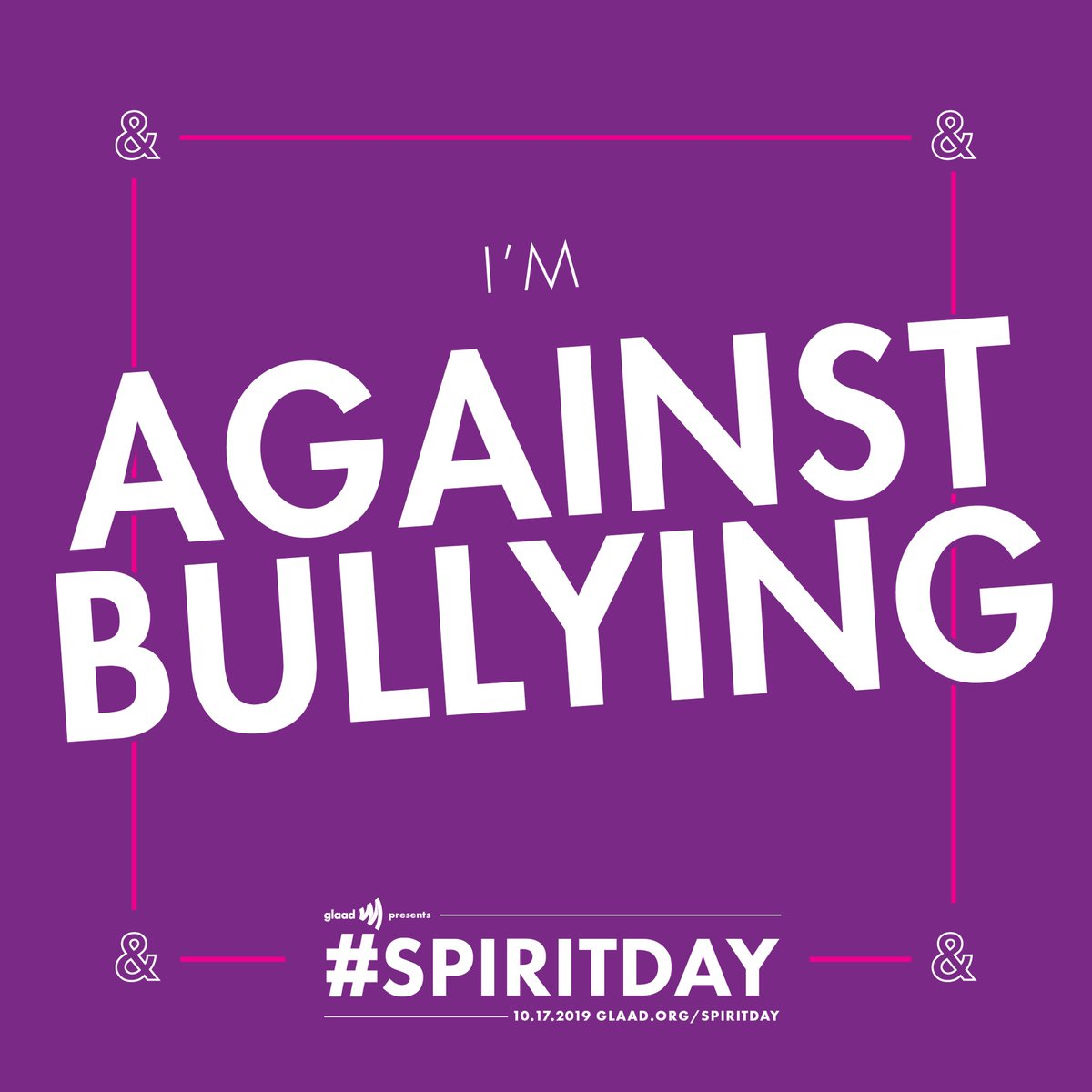Today is #SpiritDay! Join me and @GLAAD to take a stand against bullying.  Show your support by taking the Spirit Day Pledge at https://t.co/J8lT6jDwRi https://t.co/3vbZYF74Pc