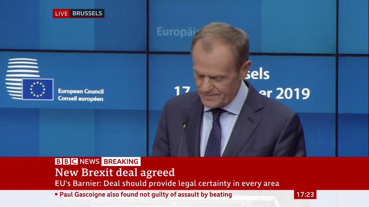 """#BrexitDeal ensures """"integrity of single market"""" & allows us to avoid """"chaos and atmosphere of conflict between EU & UK"""" - President of the European Council Donald Tusk adds """"door will always be open"""" for UK return to EULive updates: http://bbc.in/35Rtjfs"""