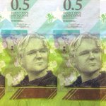 Cryptocurrency banknote design in tribute to WikiLeaks and Julian Assange, by @CurrencyDesign. Printed and drying: