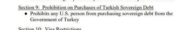 米共和党のグラハム上院議員は新しいトルコ制裁案のドラフトを公表。ほとんどトルコ軍と軍関係者を対象にしていますが、トルコ経済にとってもっとも肝心なのは第9条。これは米国籍の者がトルコ国債の購入を禁じている。